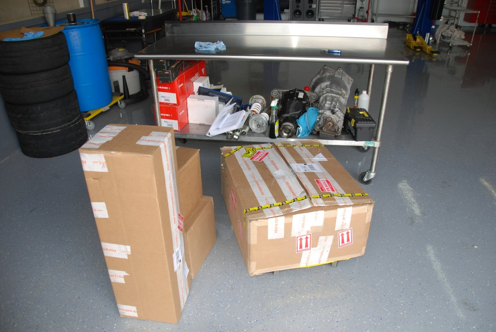 Boxes from HPF along with diff and tranny from the car and suspension for the car.